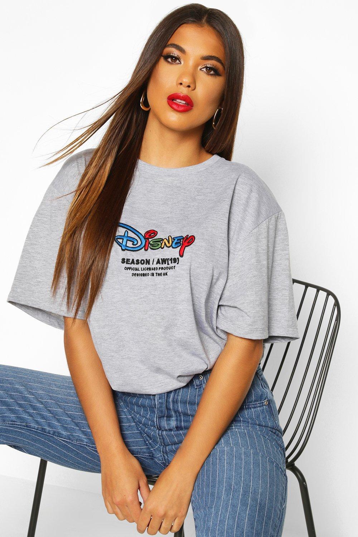 """Womens T-Shirt mit """"Disney""""-HW1-Stickerei - grau - 32, Grau - Boohoo.com"""