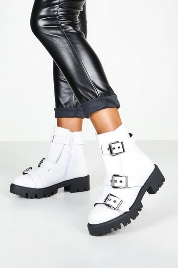 White Buckle Trim Cleated Hiker Boots