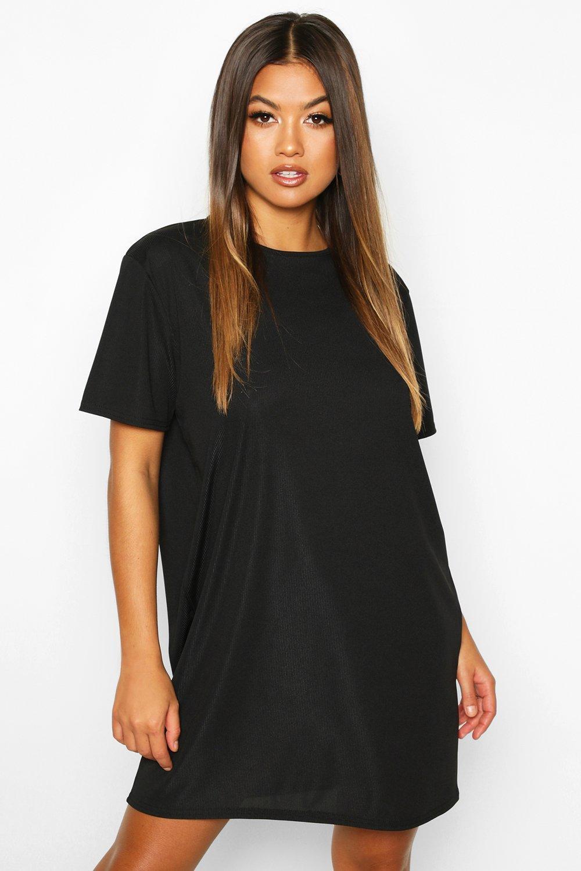 Womens T-Shirt-Kleid aus Rippstrick - schwarz - 34, Schwarz - Boohoo.com