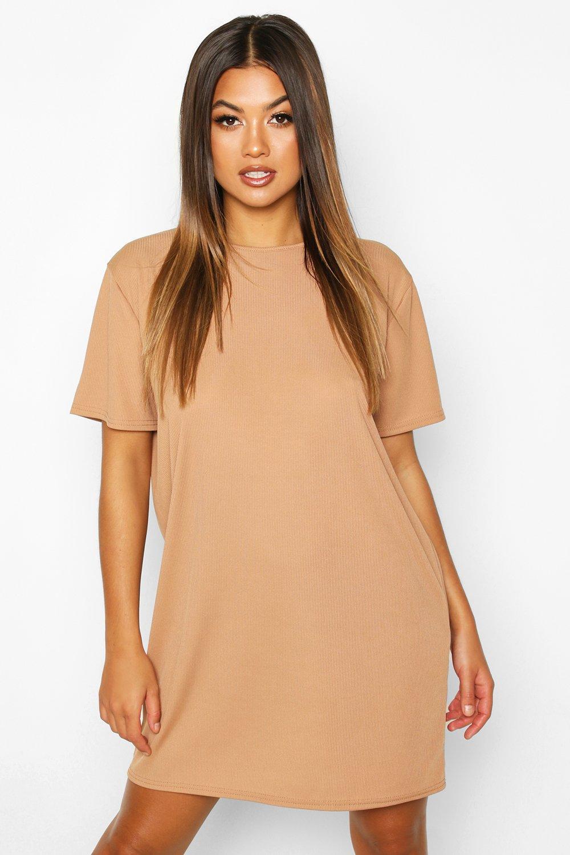 Womens T-Shirt-Kleid aus Rippstrick - Karamell - 34, Karamell - Boohoo.com