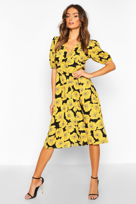 Миди платье с объемными рукавами из атласа с цветочным рисунком на пуговицах