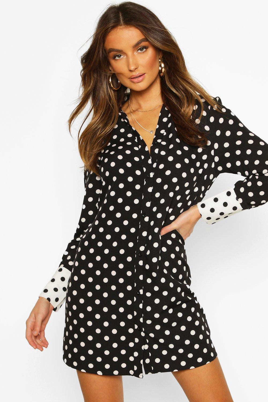 Womens Gewebtes Oversized Blusenkleid mit Punkten - schwarz - 34, Schwarz - Boohoo.com