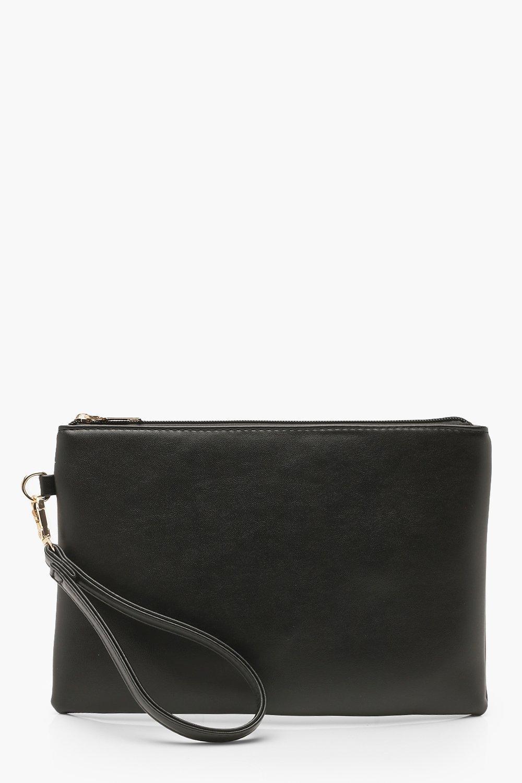 boohoo Womens Metallic Smooth Pu Zip Top Clutch Bag - Black - One Size, Black