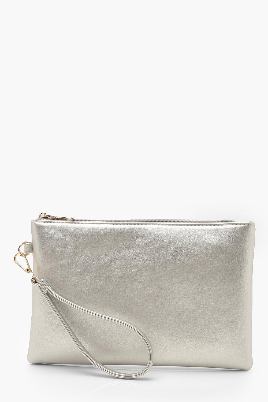 boohoo Womens Metallic Smooth Pu Zip Top Clutch Bag - Grey - One Size, Grey