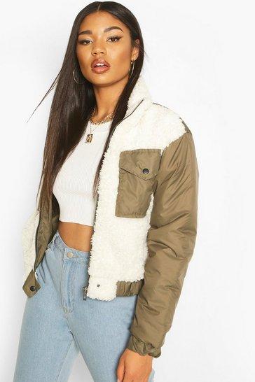 Khaki Teddy Faux Fur Mix Puffer Jacket