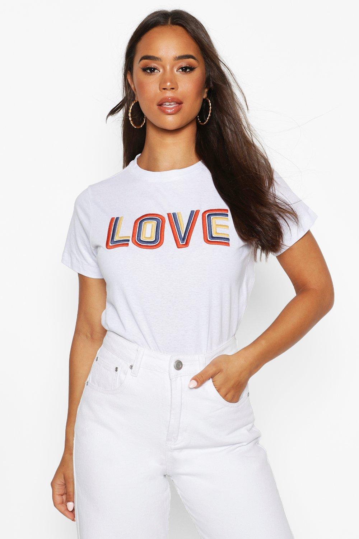 "Womens T-Shirt mit ""High Build""-Slogan - Weiß - 32, Weiß - Boohoo.com"