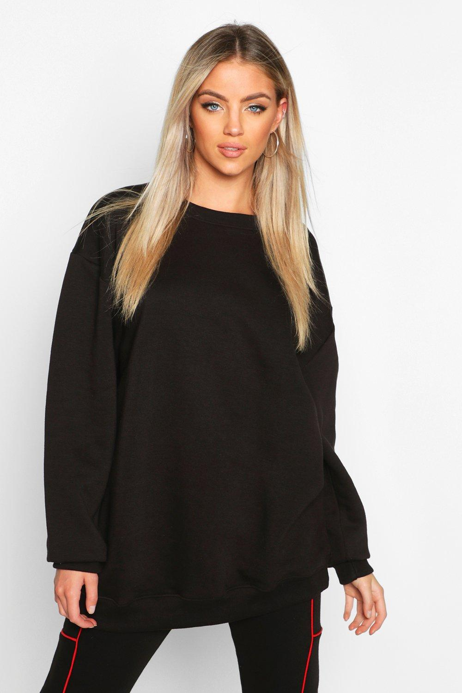Womens Oversized Boyfriend-Sweatshirt - schwarz - 32, Schwarz - Boohoo.com
