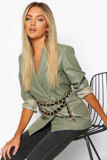 Black Suede & Chain Double Layer Waist Belt