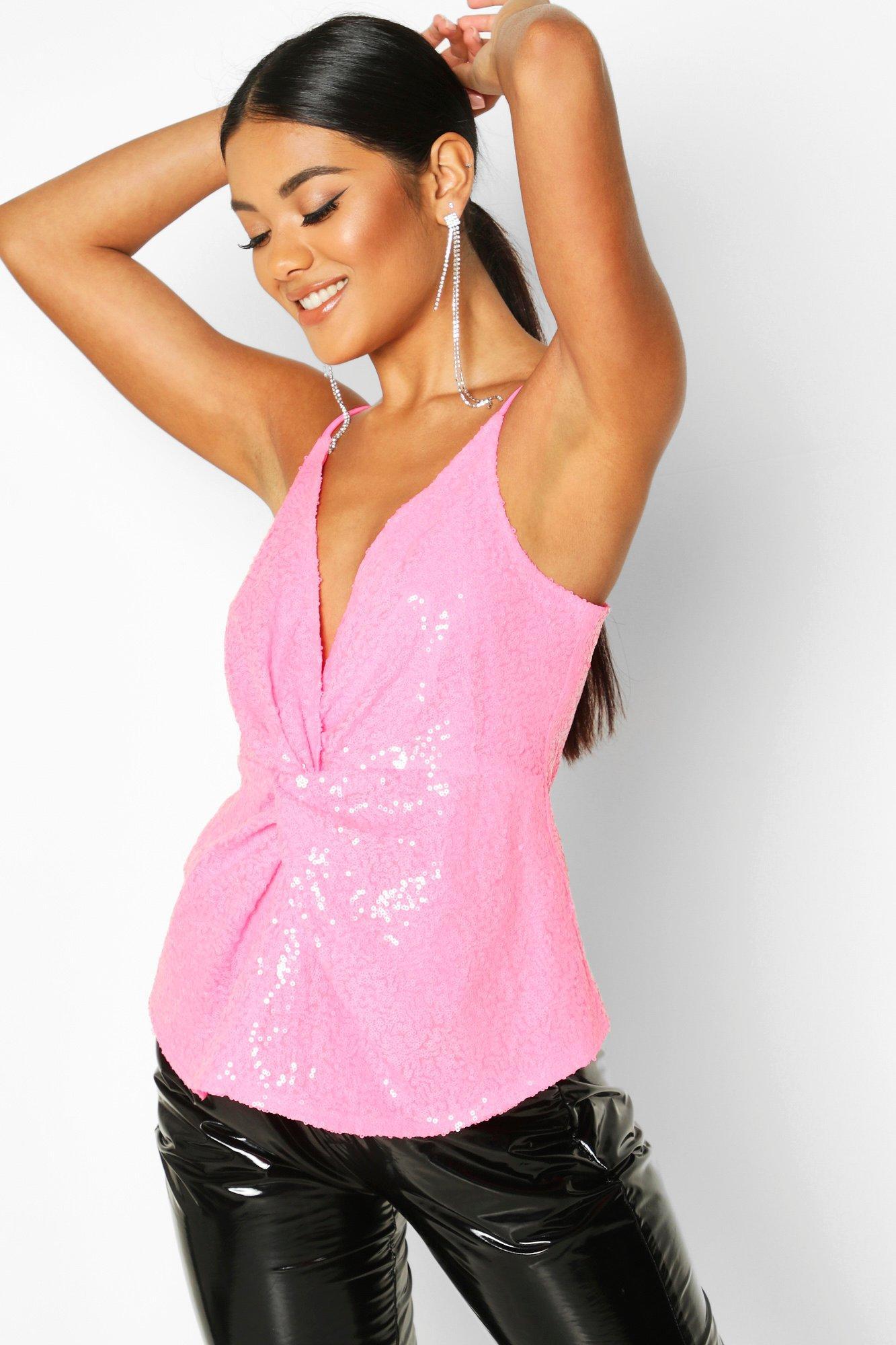 Womens Neonfarbenes Cami-Oberteil mit Pailletten und Knoten vorne - rosa - 32, Rosa - Boohoo.com