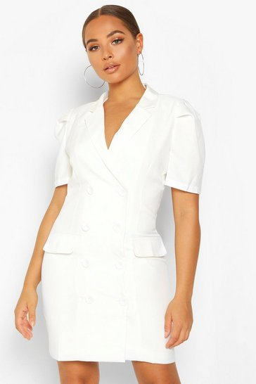 Ivory Double Breasted Puff Shoulder Blazer Dress