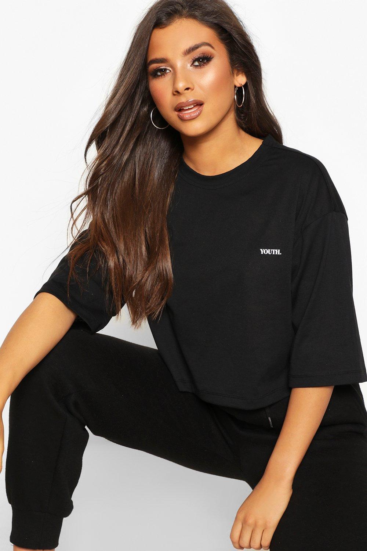 Womens Kastenförmiges, kurzes T-Shirt mit Slogan - schwarz - S, Schwarz - Boohoo.com