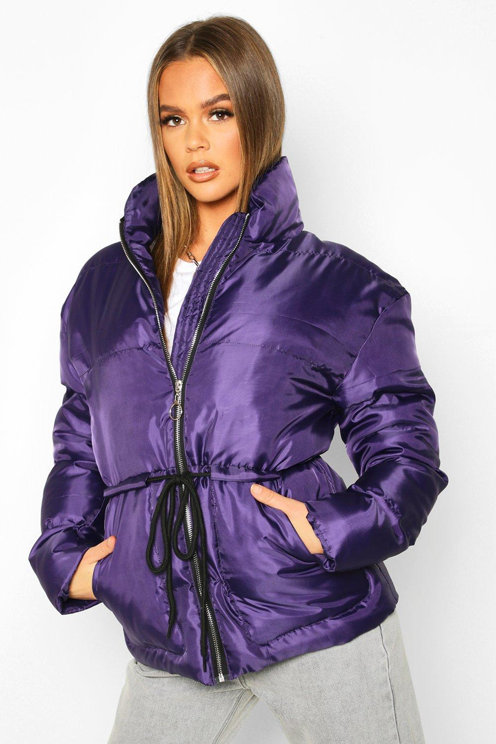 Don't Miss Out Tie Waist Funnel Neck Puffer Jacket