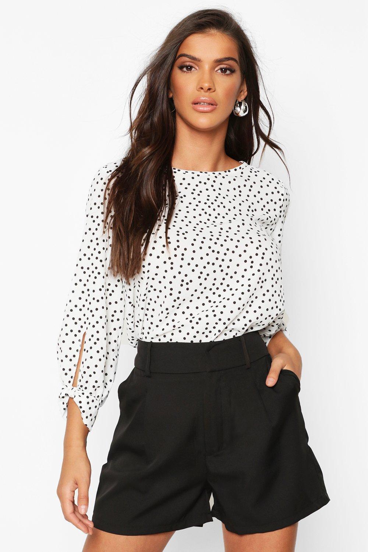 Womens Polka Dot Bow Sleeve Woven Blouse - white - 38, White - Boohoo.com