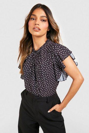 Black Polka Dot Frill Sleeve Woven Blouse