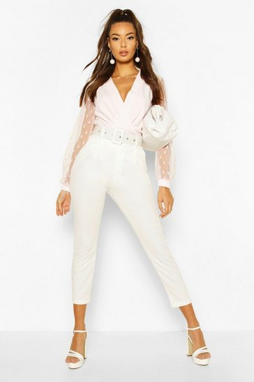 Pink Polka Dot Mesh Sleeve Bodysuit