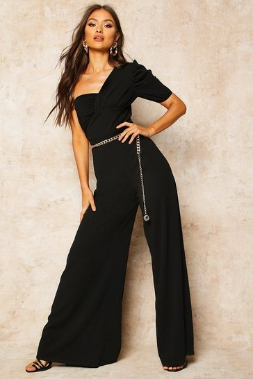 Black One Shoulder Puff Sleeve Jumpsuit