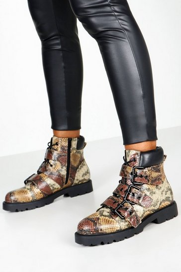 Brown Snake Print Buckle Hiker Boots