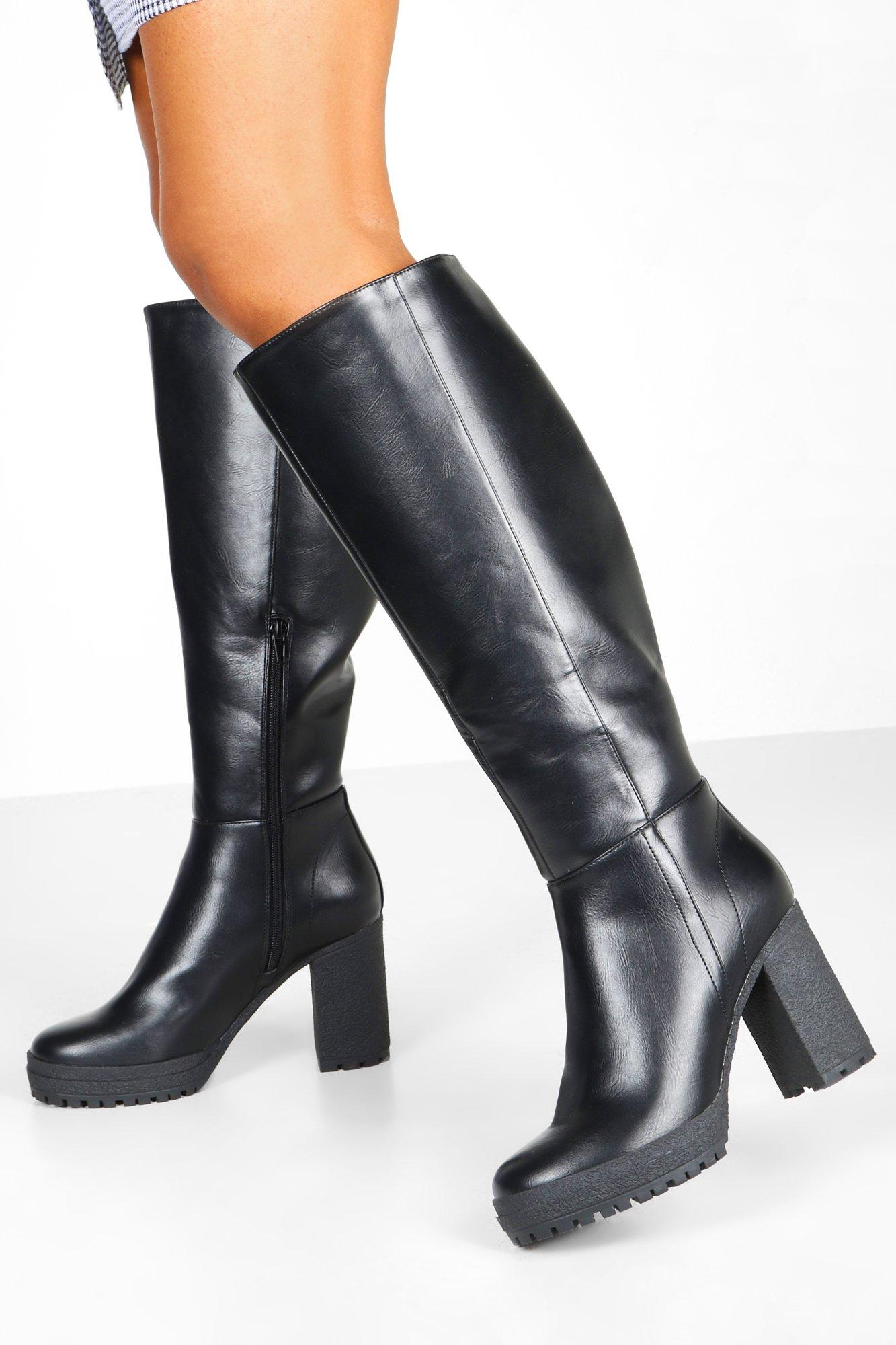 boohoo Womens Chunky Cleated Over The Knee Boots - Black - 7, Black