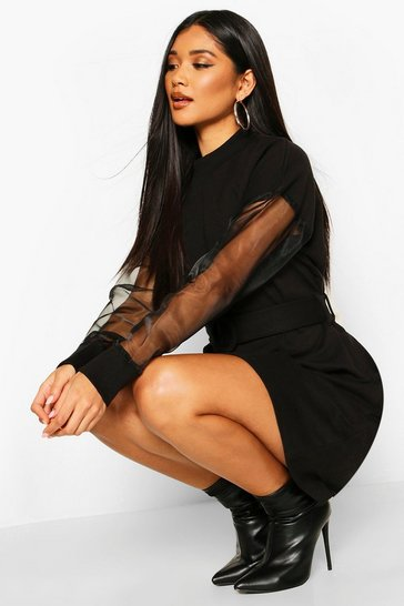 Black Organza Sleeve Belted Sweat Dress