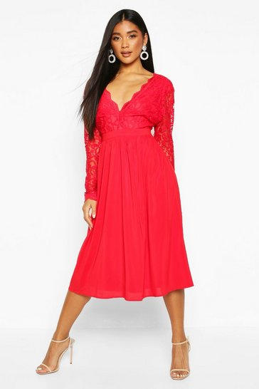 Berry Lace Top Midi Skater Dress