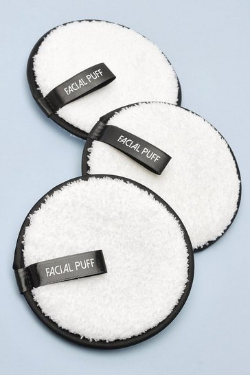 White Pack Of 3 Face Puff Cleansing Pads