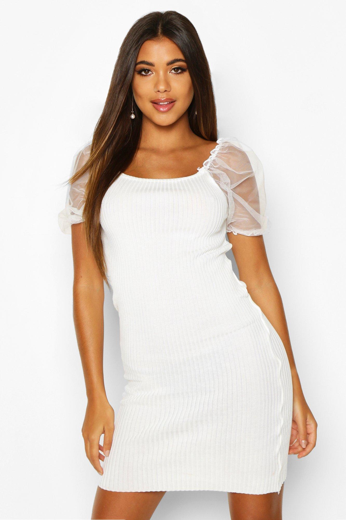 Womens Organza Kleid aus Rippstrick mit Puffärmeln - Weiß - S/M, Weiß - Boohoo.com