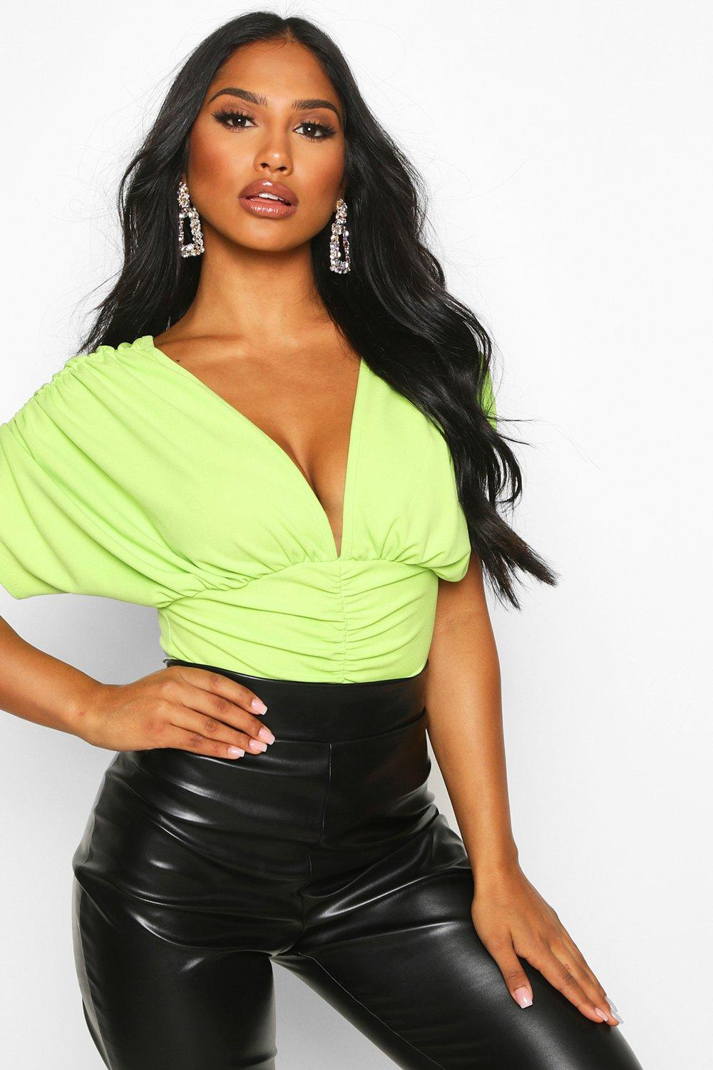 Womens V Plunge Ruched Top - lime - 40, Lime - Boohoo.com