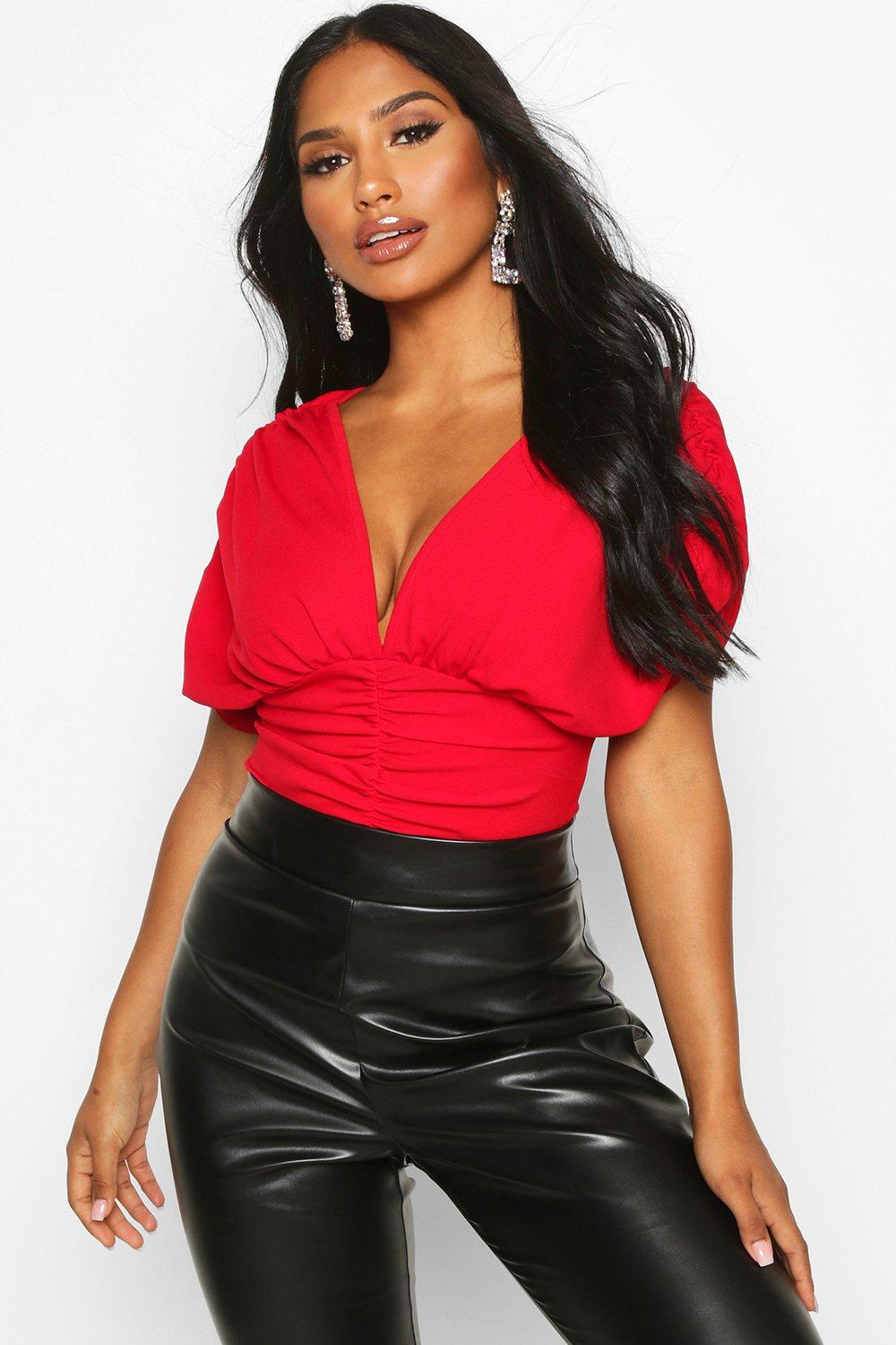 Womens V Plunge Ruched Top - red - 38, Red - Boohoo.com