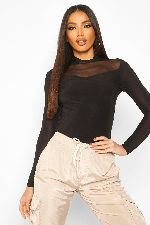 Womens Doppellagiger Rollkragen aus glänzendem Jersey mit Netzeinsatz - schwarz - 32, Schwarz - Boohoo.com