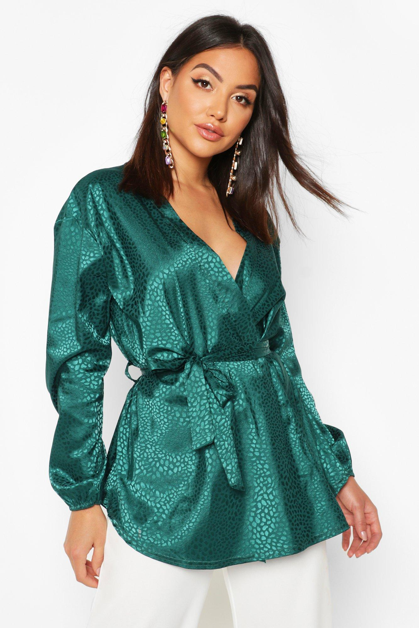 Womens Animal Satin Wrap Blouse - green - 38, Green - Boohoo.com