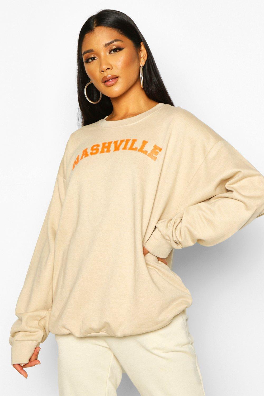"Womens Pullover mit ""Nashville""-Slogan - Naturfarben - L, Naturfarben - Boohoo.com"