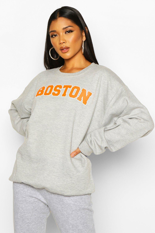 """Womens Sweatshirt mit """"Boston""""-Slogan - Grau meliert - M, Grau Meliert - Boohoo.com"""