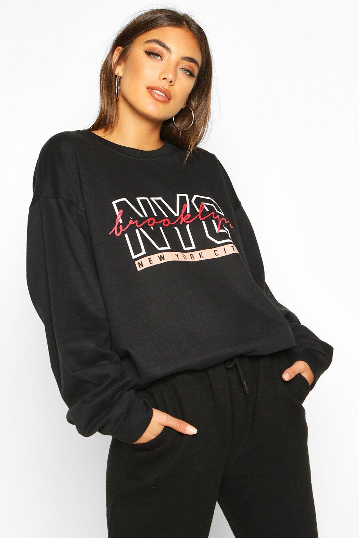 "Womens Pullover mit ""NYC Brooklyn""-Slogan - schwarz - S, Schwarz - Boohoo.com"