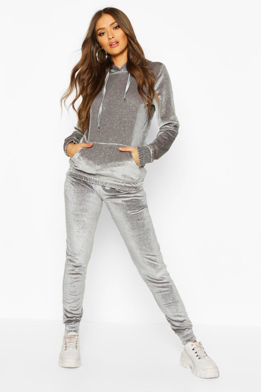 Womens Glitzernder Trainingsanzug aus Samt mit Kapuze - grau - S, Grau - Boohoo.com