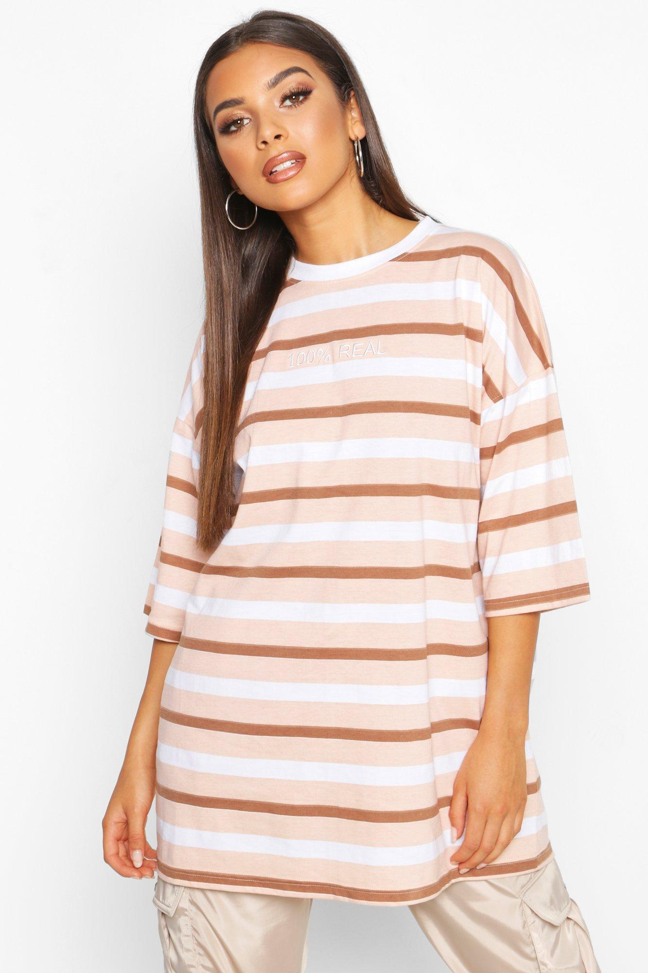Womens Oversized T-Shirt mit Stickerei und Streifen - hautfarben - 32, Hautfarben - Boohoo.com