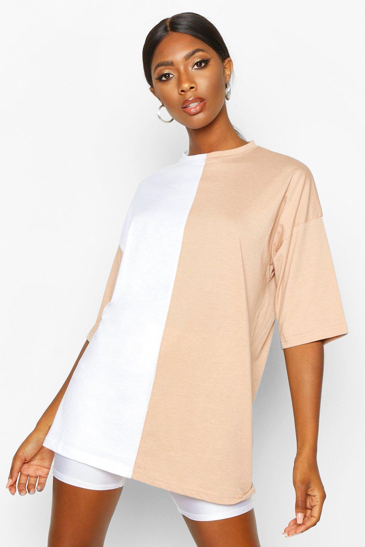 Womens T-Shirt mit kontrastierendem Colourblock - kamelhaarfarben - 32, Kamelhaarfarben - Boohoo.com