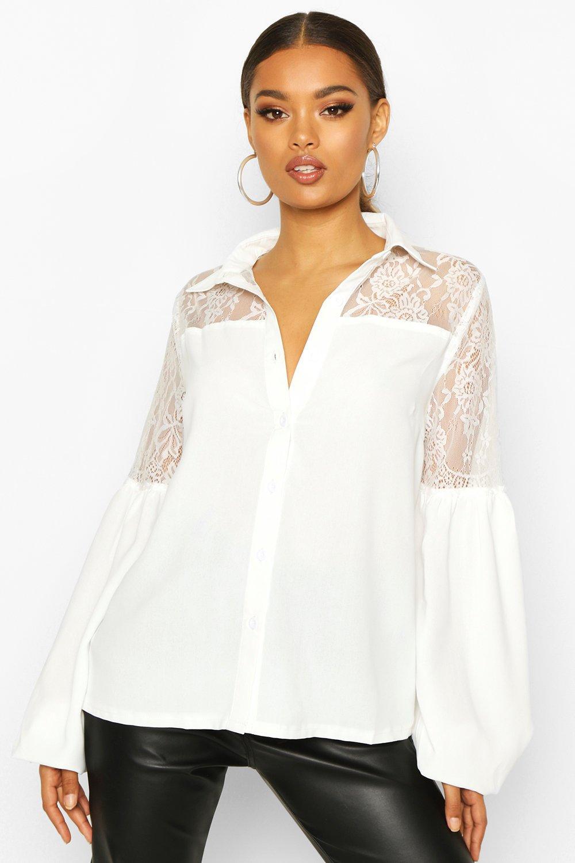Womens Hemd mit Spitzeneinsatz - Weiß - 38, Weiß - Boohoo.com