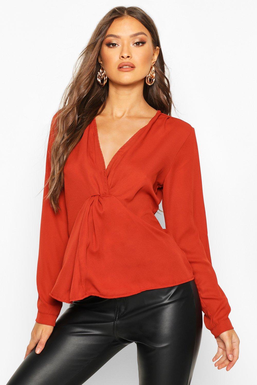 Womens Bluse mit Zierknoten - Gewürzfarben - 34, Gewürzfarben - Boohoo.com