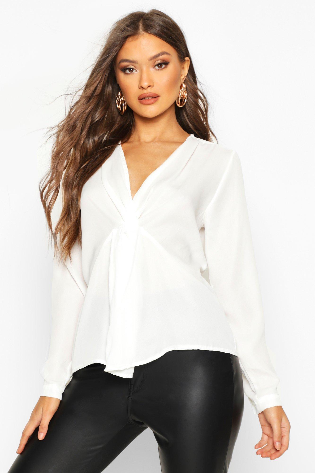 Womens Bluse mit Zierknoten - Weiß - 40, Weiß - Boohoo.com