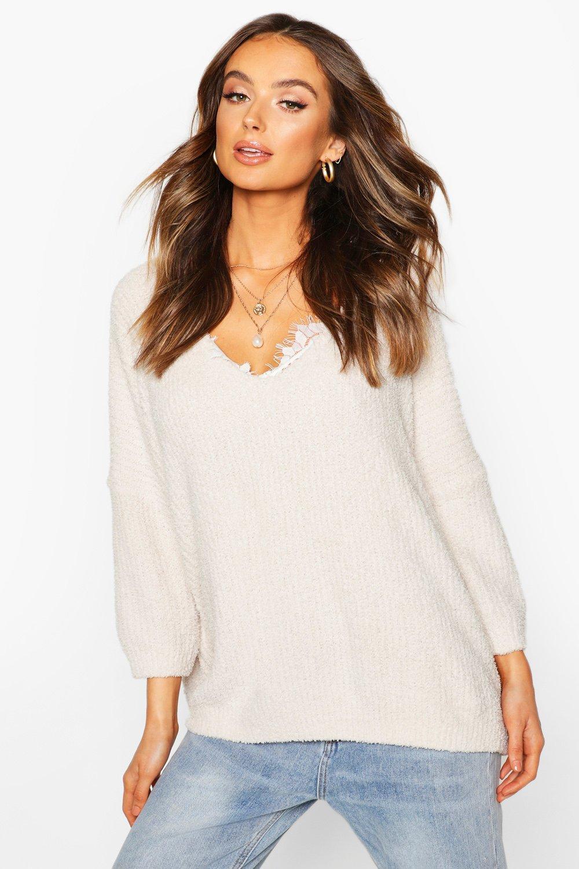 Womens Kuscheliger Oversize-Pullover mit V-Ausschnitt - creme - S, Creme - Boohoo.com