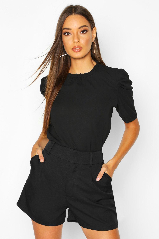 Womens Hochgeschlossene Bluse mit weiten Ärmeln - schwarz - 36, Schwarz - Boohoo.com