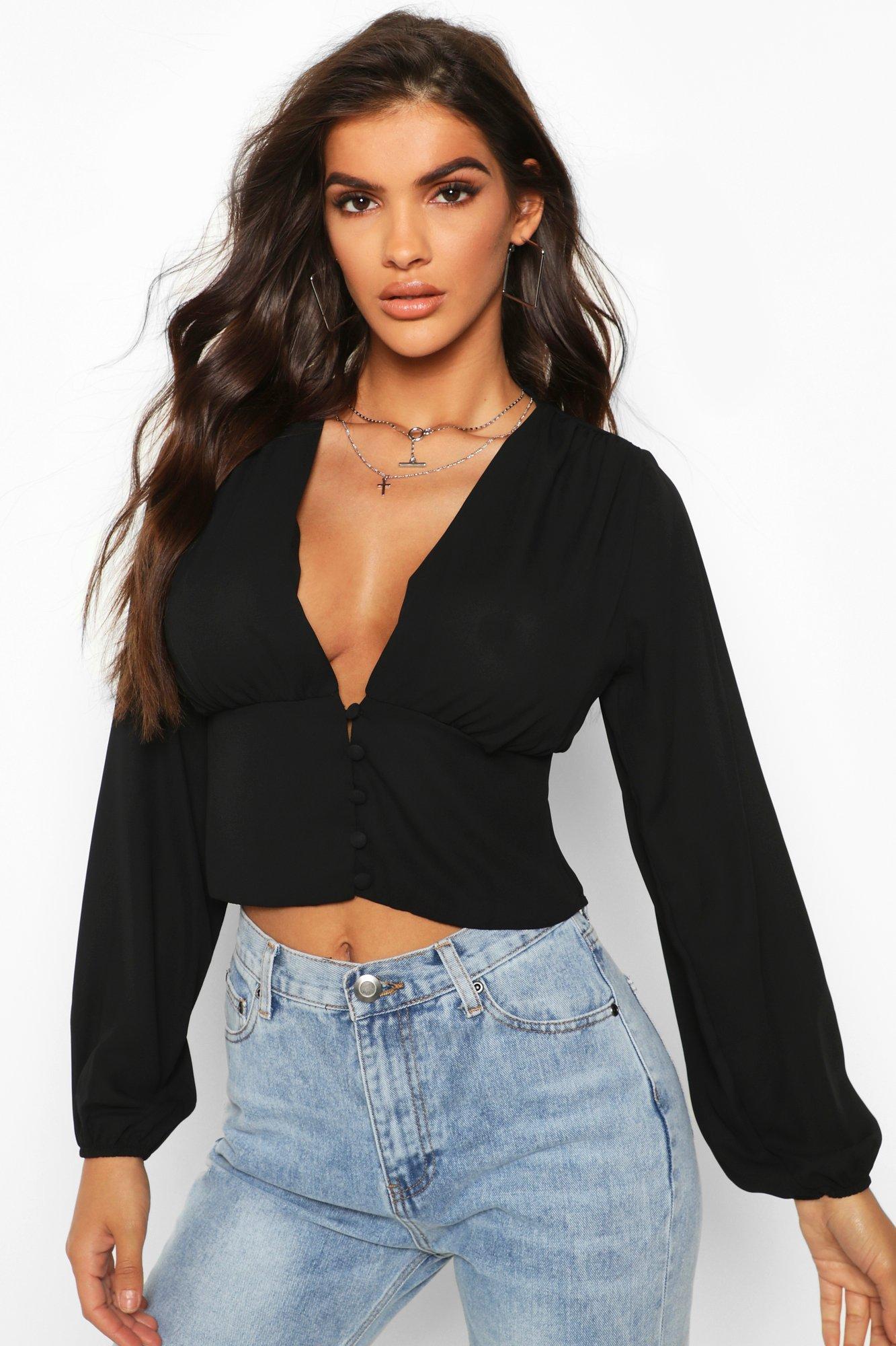 Womens Bluse aus Webstoff mit Knopfdetail und weiten Ärmeln - schwarz - 38, Schwarz - Boohoo.com