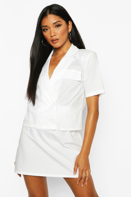 Womens Zweireihiges Popeline-Hemd - Weiß - 34, Weiß - Boohoo.com