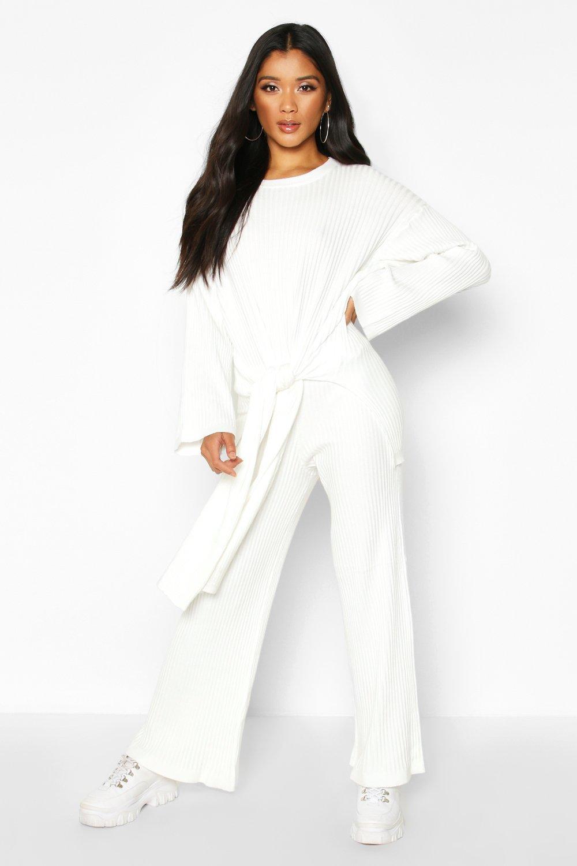 Womens Strickset mit Schnürung - Weiß - S/M, Weiß - Boohoo.com