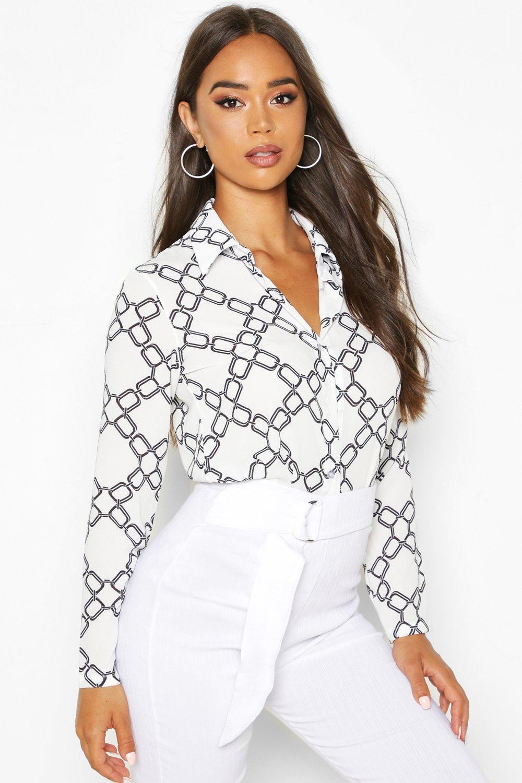 Womens Hemd mit Barockmuster - Weiß - 40, Weiß - Boohoo.com