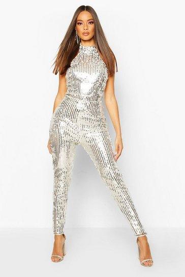 Silver High Neck Sequin Jumpsuit