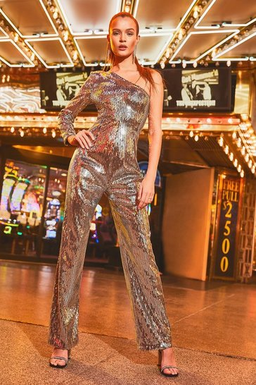 Silver One Shoulder Sequin Wide Leg Jumpsuits
