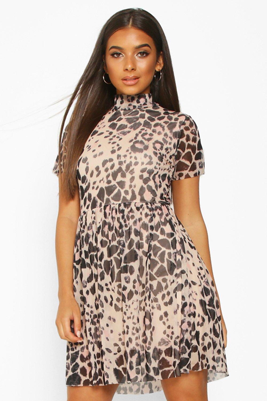 £5 Dresses High Neck Mesh Leopard Smock Dress