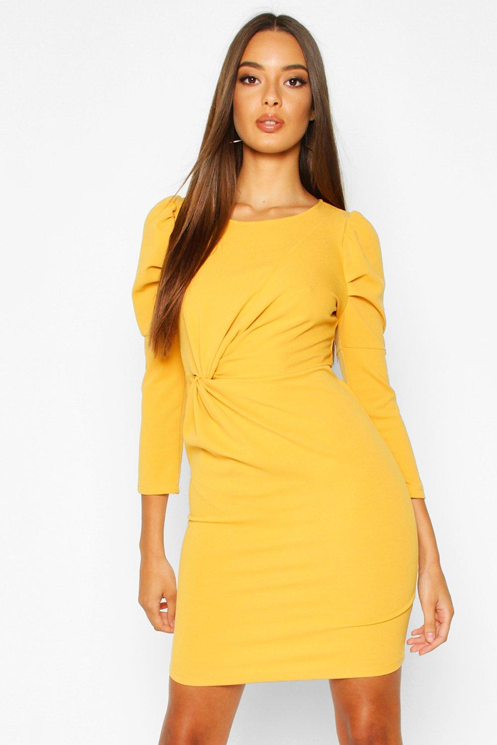 Super Sleeves Crew Neck Knot Front Puff Sleeve Shift Dress
