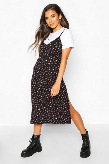 Black Ditsy Floral Slip Midi Jersey Dress